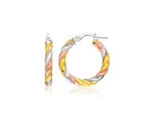 Spiral Look Hoop Earrings in 14k Tri-Color Gold