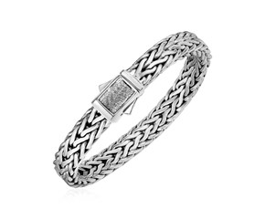 Wide Woven Rope Mens Designer Bracelet in Sterling Silver