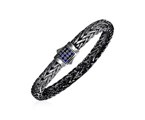 Woven Rope Bracelet with Blue Sapphire and Black Finish in Sterling Silver
