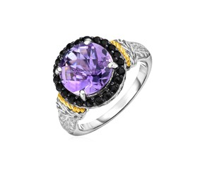 Amethyst and Black Sapphire Ring in 18k Yellow Gold and Sterling Silver