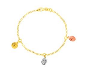 14k Tri Color Gold Bracelet with Medallion Charms