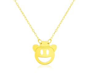 14k Yellow Gold Necklace with Cowboy Emoji Symbol