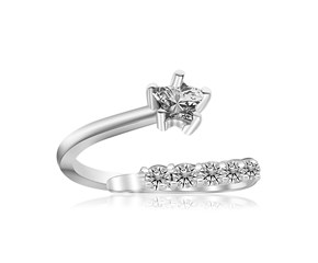 White Cubic Zirconia Floral Motif Toe Ring in Rhodium Plated Sterling Silver
