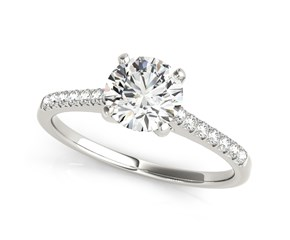 14k White Gold Round Single Row Scalloped Set Diamond Engagement Ring (1 1/8 cttw)