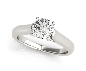 14k White Gold Round Cut Cathedral Design Solitaire Diamond Engagement Ring (1 cttw)