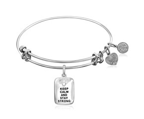 Expandable White Tone Brass Bangle with Keep Calm and Stay Strong Symbol