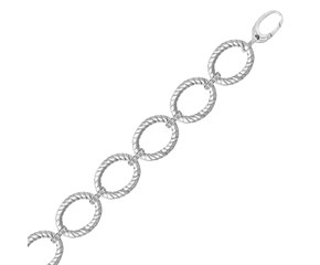 Diamond Accented Cable Oval Link Bracelet in Rhodium Plated Sterling Silver (.20cttw)