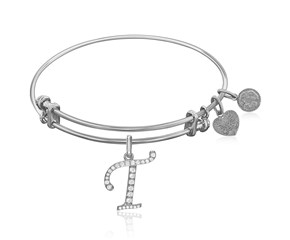 Expandable White Tone Brass Bangle with T Symbol with Cubic Zirconia