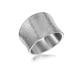 Concave Style Ring with Texture in Rhodium Plated Sterling Silver
