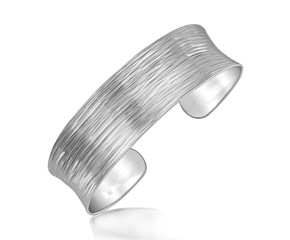Diamond Cut Concave Cuff in Rhodium Plated Sterling Silver