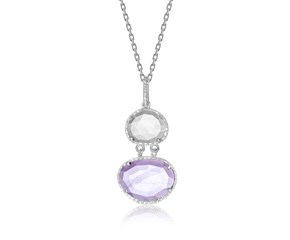 Amethyst, Rose Quartz & Diamond Layered Pendant in Sterling Silver