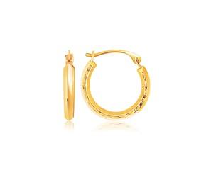 Textured Round Hoop Earrings in 14k Yellow Gold
