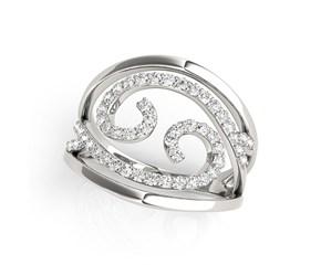 Swirl Design Diamond Ring in 14K White Gold (1/2 ct. tw.)