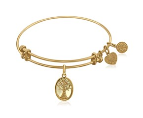 Expandable Yellow Tone Brass Bangle with Tree of Life and Mother of Pearl