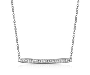 14k White Gold 18 inch Necklace with Gold and Diamond Bar (1/10 cttw)