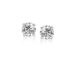 7mm Faceted White Cubic Zirconia Stud Earrings in 14k White Gold