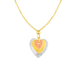 14k Tri Color Gold Necklace with Engraved Heart Pendant