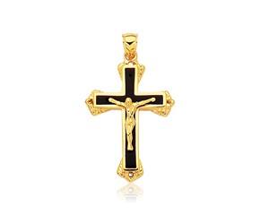 Black Onyx Cross Pendant in 14k Yellow Gold
