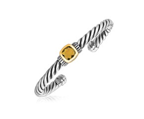 Citrine Stationed Cable Open Cuff Bangle in 18K Yellow Gold and Sterling Silver