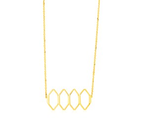 14K Yellow Gold Stylized Honeycomb Necklace
