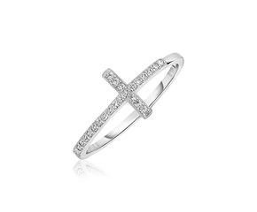 Sterling Silver Cross Ring with Cubic Zirconias