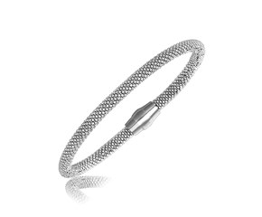Popcorn Chain Bangle in Rhodium Plated Sterling Silver