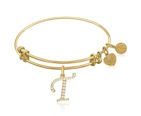 Expandable Yellow Tone Brass Bangle with T Symbol with Cubic Zirconia