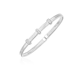 14k White Gold Narrow Basket Weave Bangle with Diamonds