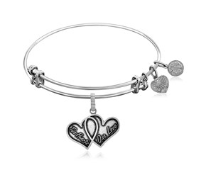 Expandable White Tone Brass Bangle with Two Hearts One Love Symbol
