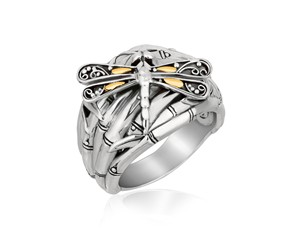 Bamboo and Dragonfly Style Ring in 18k Yellow Gold and Sterling Silver
