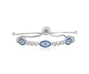 Sterling Silver Adjustable Enameled Evil Eye Bracelet with Cubic Zirconias