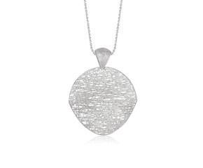 Freeform Weave Shield Pendant in 14k White Gold