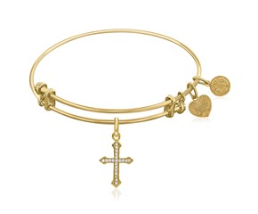 Expandable Yellow Tone Brass Bangle with Cross with Cubic Zirconia