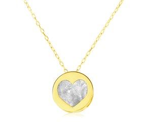 14k Yellow Gold Necklace with Heart in Mother of Pearl