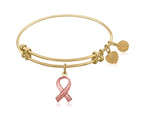 Expandable Yellow Tone Brass Bangle with Awareness and Support Ribbon Symbol