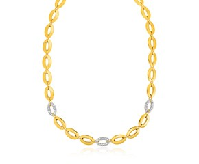 14k Yellow Gold and Diamond Oval Link Necklace (1/3 cttw)