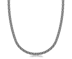 Thick Popcorn Design Pendant Chain in Rhodium Plated Sterling Silver