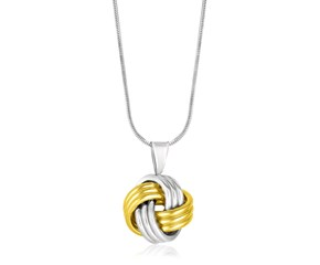 Textured Love Knot Pendant in 14K Yellow Gold & Sterling Silver