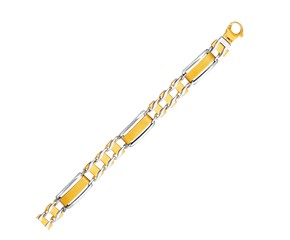 Rounded Bar Links Men's Bracelet in 14k Two-Tone Gold