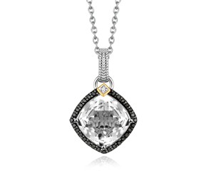Crystal Quartz and Diamond Accented Cushion Pendant in 18K Yellow Gold and Sterling Silver (.29 ct. tw.)
