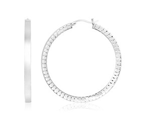 Sterling Silver Round Snake Texture Hoop Earrings