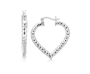 Textured Diamond Cut Heart Motif Hoop Earrings in Rhodium Plated Sterling Silver