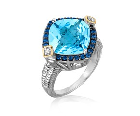 Blue Topaz,  Iolite,  and Diamond Cushion Ring in 18k Yellow Gold and Sterling Silver (.23 cttw)