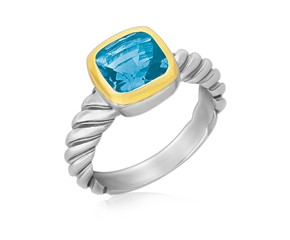 Cushion Blue Topaz Cable Shank Style Ring in 18k Yellow Gold and Sterling Silver