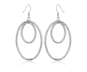 Dual Textured Oval Tube Drop Earrings in Sterling Silver