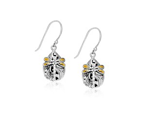 Dragonfly Teardrop Earrings in 18k Yellow Gold & Sterling Silver