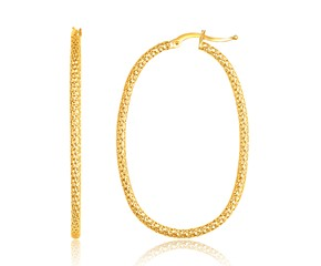 Textured Large Oval Hoop Earrings in 14k Yellow Gold
