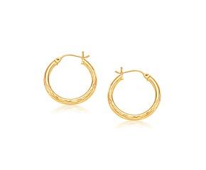 Medium Width Diamond-Cut Hoop Earring in 14k Yellow Gold (25mm Diameter)