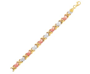 Fancy Satin Heart Line Bracelet in 14k Tri-Color Gold
