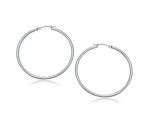 Classic Hoop Earrings in 14k White Gold (40mm Diameter) (2.0mm)
